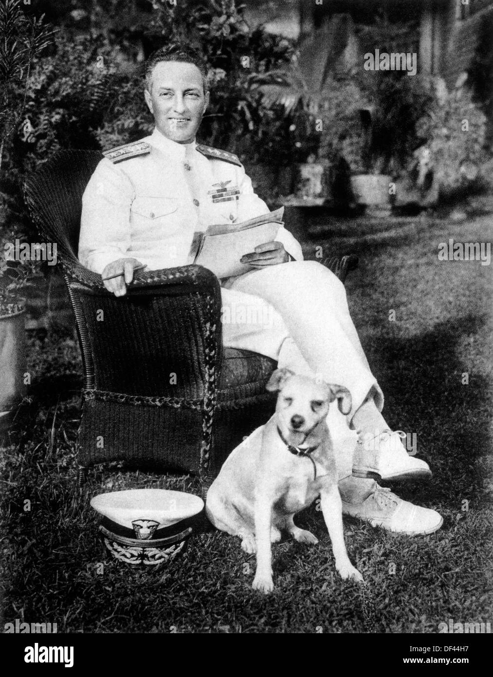 Admiral Richard E. Byrd with Igloo, his Pet Wire Fox Terrier, Portrait, Circa 1920's - Stock Image