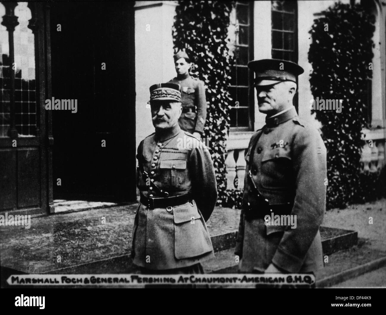Marshall Ferdinand Foch with General John Pershing, Commander-in-Chief of American Expeditionary Forces, Chaumont, France, 1917 - Stock Image