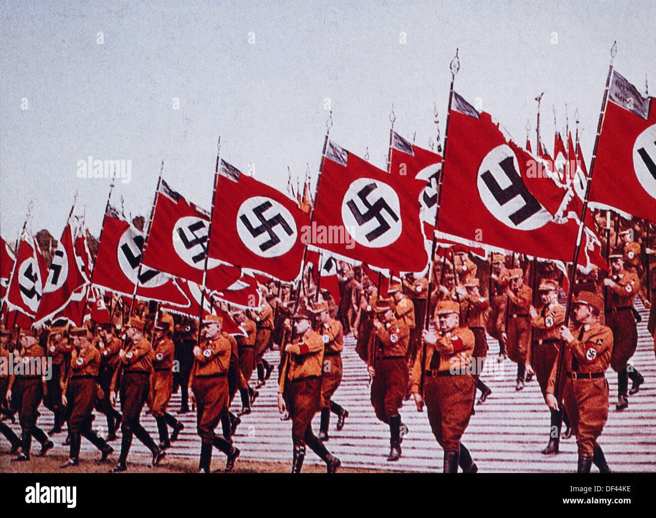 German SA Troops at Rally, Nurnberg, Germany, 1933 - Stock Image