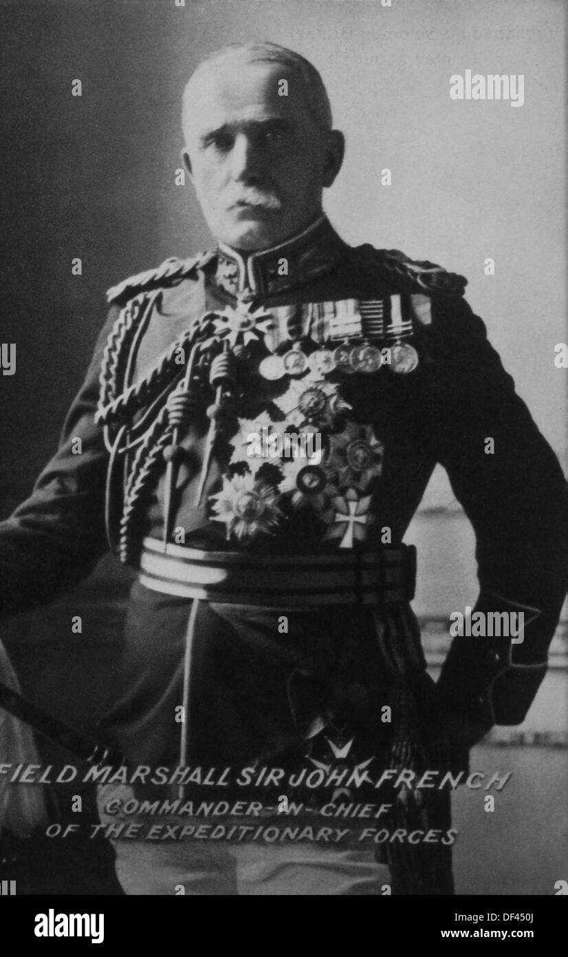 Field Marshall Sir John French, Commander-in-Chief, British Expeditionary Forces, Portrait, 1914 - Stock Image