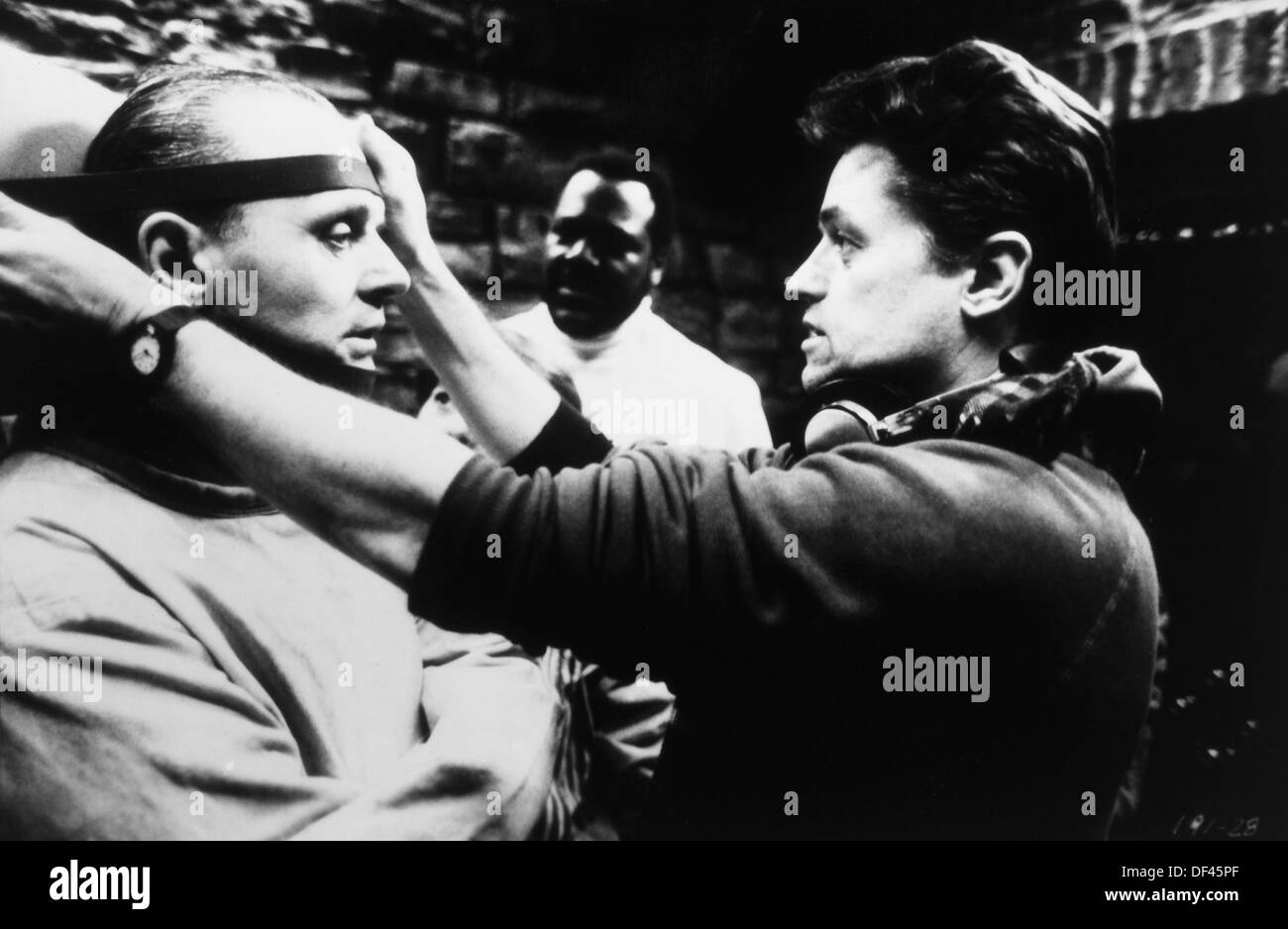 Jonathan Demme Directing Anthony Hopkins On-Set of the Film, 'The Silence of the Lambs', 1991 - Stock Image