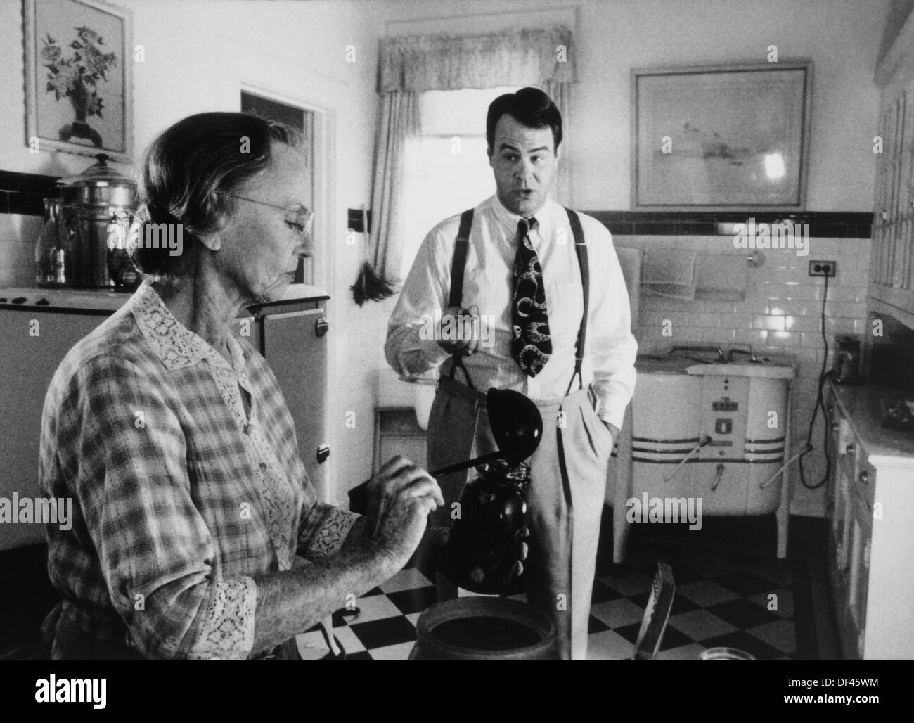 Dan Akroyd and Jessica Tandy, On-Set of the Film, 'Driving Miss Daisy', 1989 - Stock Image