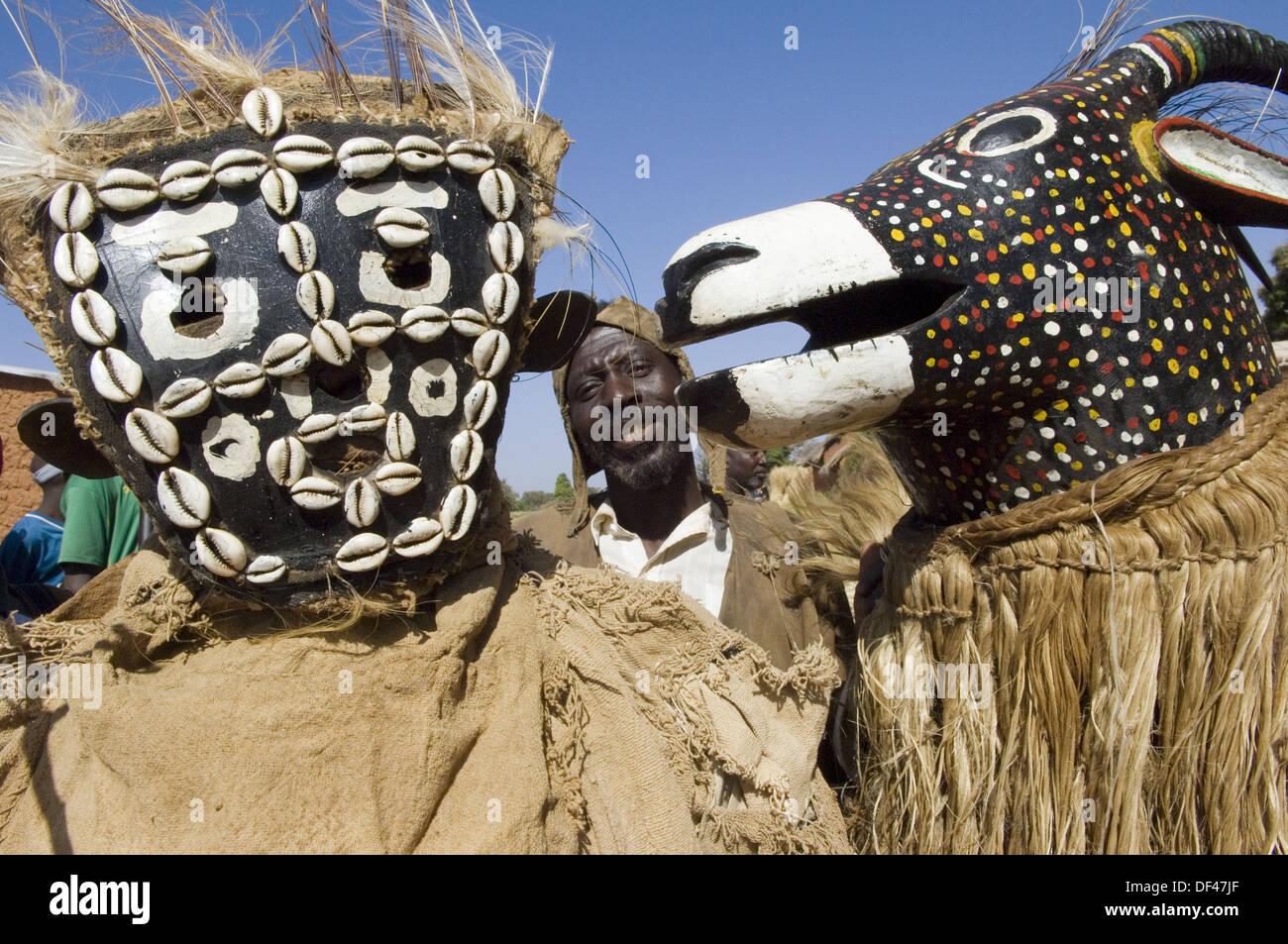 Senoufo masks, Festivities, Loulouni Village, Sikasso area, Mali, Africa. - Stock Image