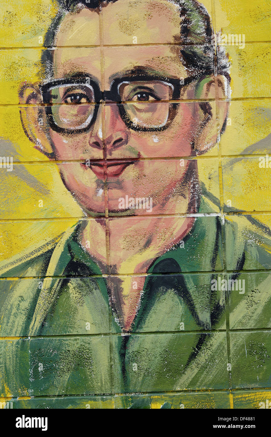 Fresco of H.M. King Bhumibol (Rama IX) of Thailand, the world longest serving monarch. Painted by schoolchildren. - Stock Image