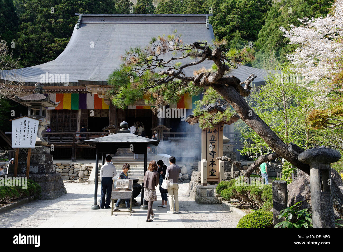 Konpon-chudo temple which has been designated a national treasure, Yamadera (´Mountain Temple´) was founded in 860 by Ennin, a - Stock Image