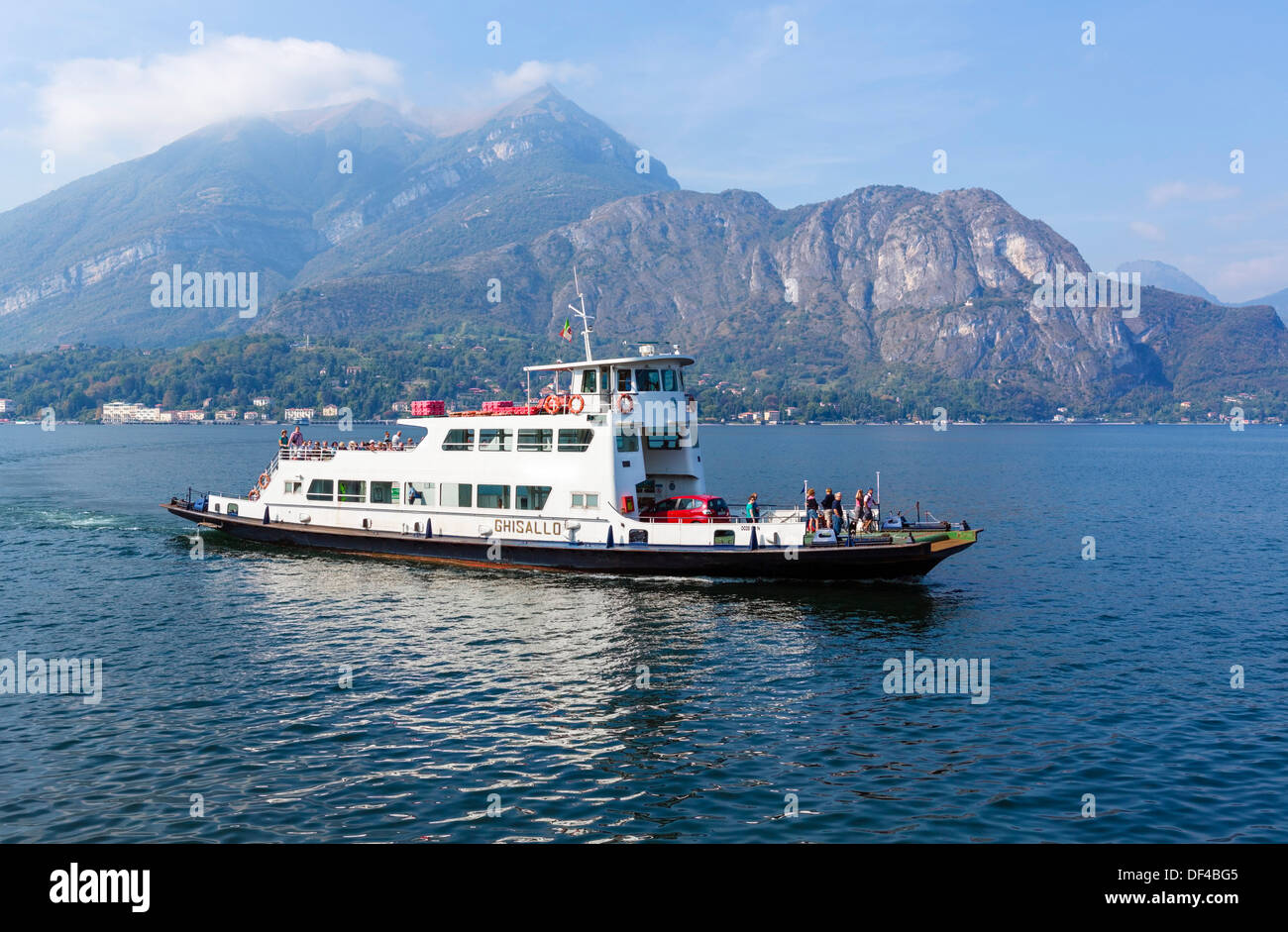 Car ferry approaching Bellagio, Lake Como, Lombardy, Italy - Stock Image