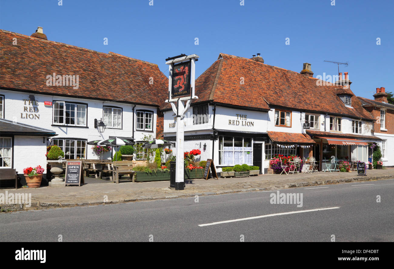 The Red Lion Pub and the Bakehouse Tea Rooms at Biddenden Kent England UK - Stock Image