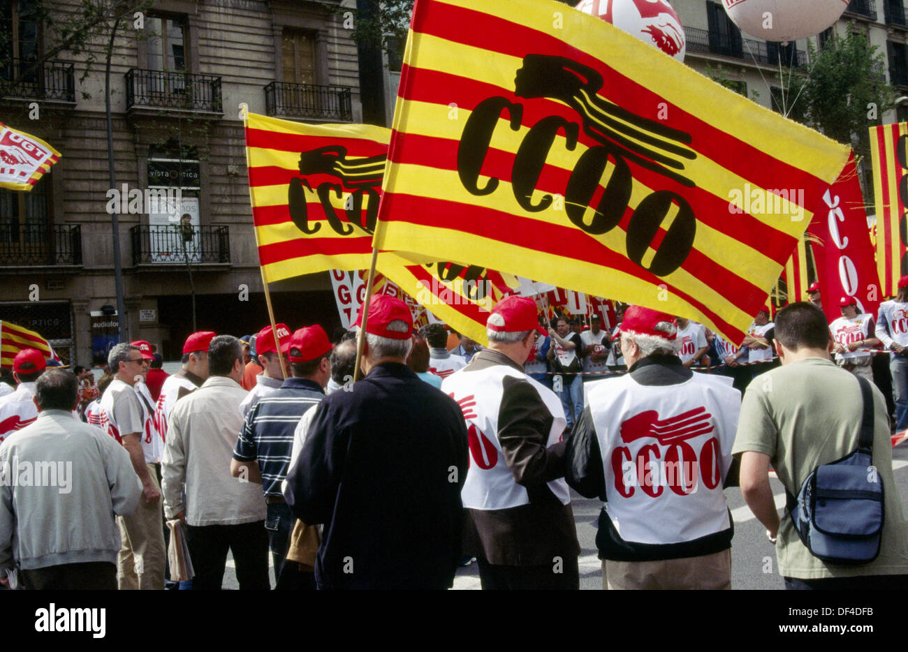 Spanish labor union CC.OO. (´Comisiones Obreras´) demonstration during May Day, 2005. Barcelona, Spain Stock Photo