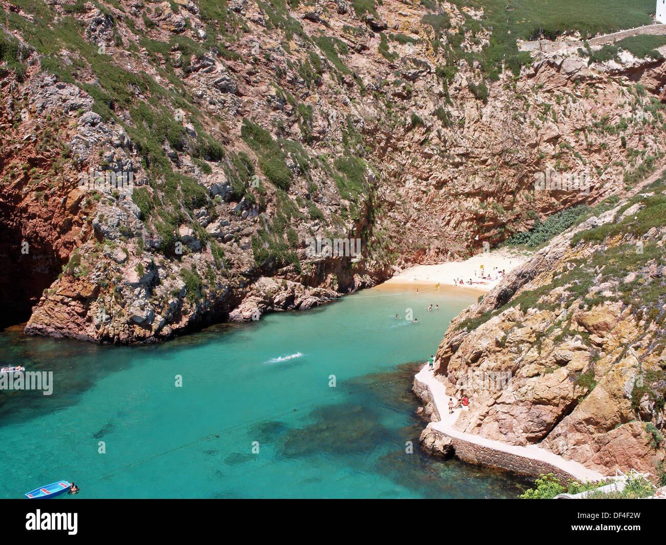 Berlenga beach (also known as ´Carreiro do Mosteiro´) in Berlenga Grande island, Berlengas Nature Reserve. Peniche, Leiria, - Stock Image