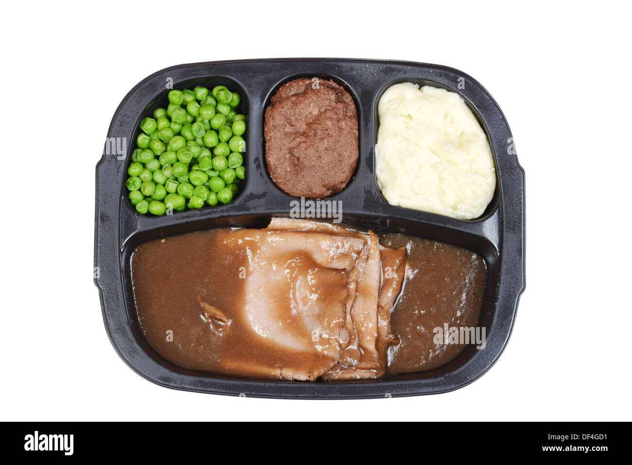 Top view roast beef tv dinner - Stock Image
