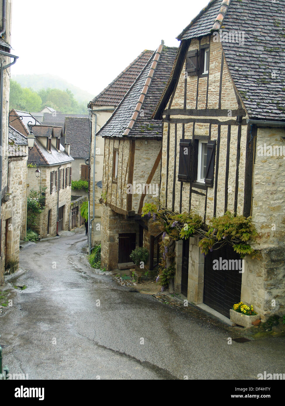 The main street in the prettiest village in France,Carennac - Stock Image