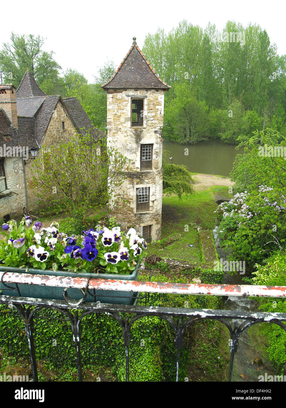 A tower in the prettiest Village in France, Carennac - Stock Image