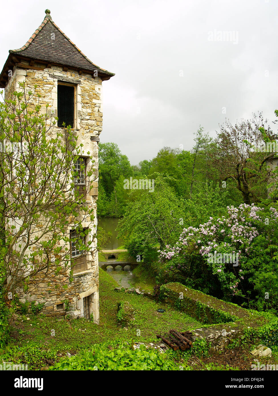 A tower in the prettiest village in France,Carennac - Stock Image