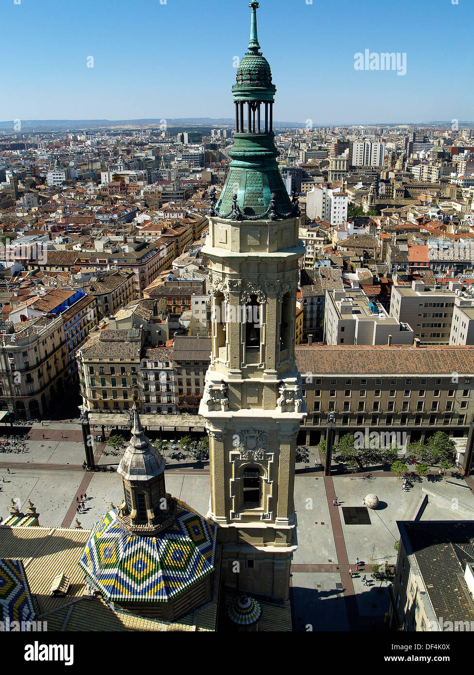 Cupola and tower from the top of Basilica of Our Lady of The Pillar,Zaragoza,Spain - Stock Image