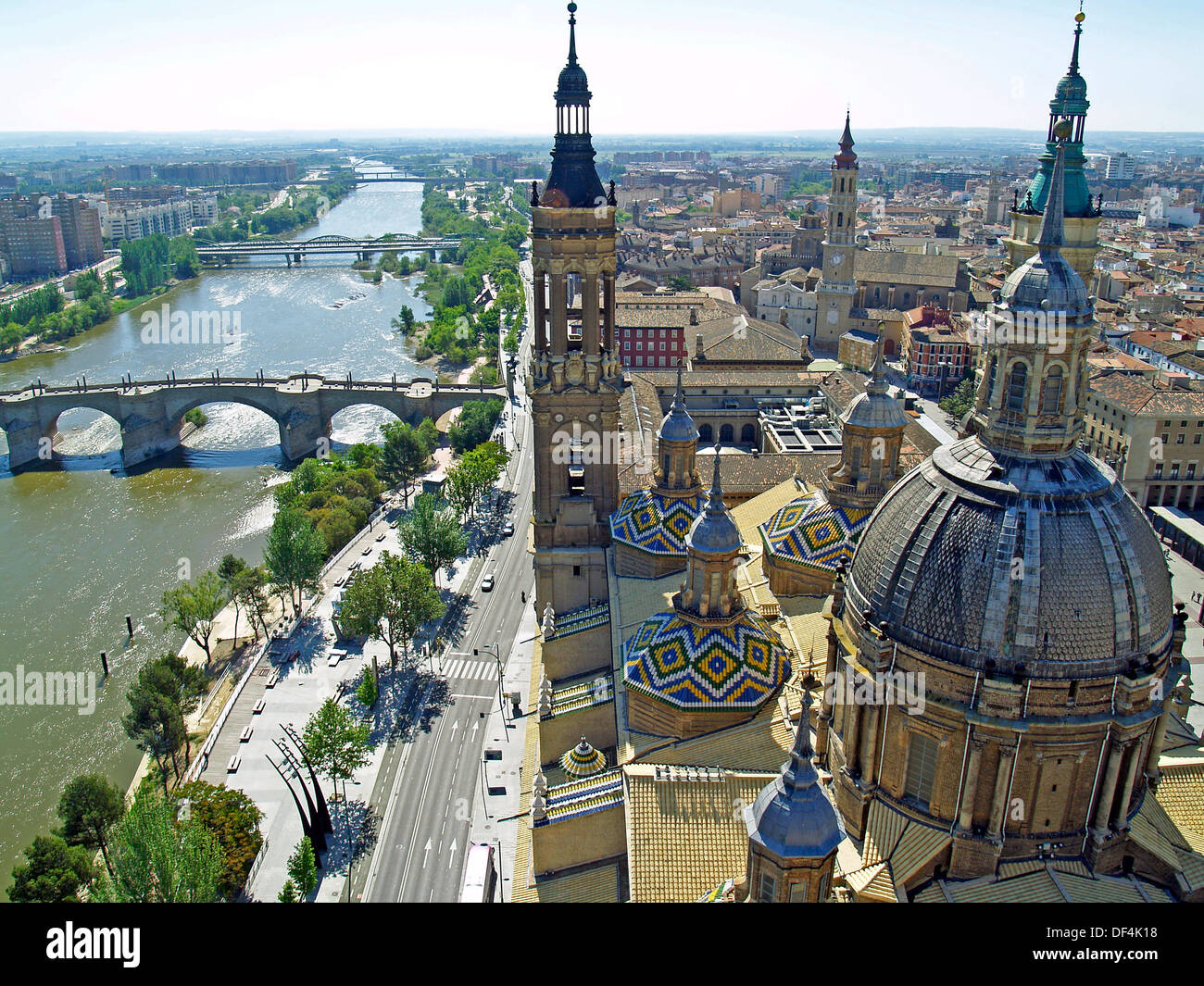 The Ebro River from atop the Basilica of Our Lady of The Pillar,Zaragoza,Spain - Stock Image