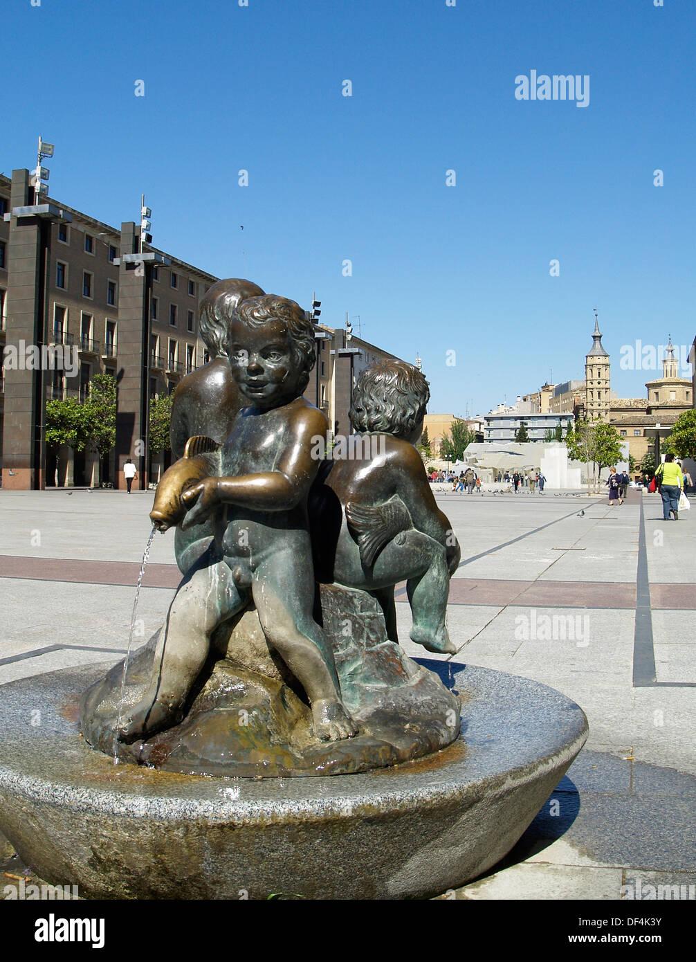 Plaza El Pilar,Zaragoza,Spain - Stock Image