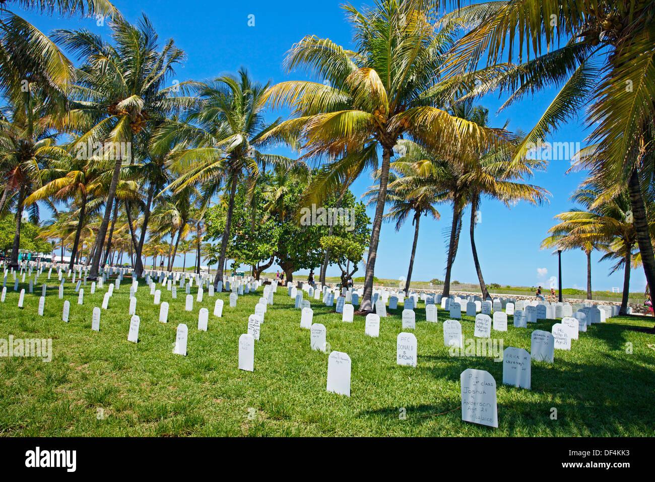 Memorial for Irak war American soldiers dead at Ocean Drive, Memorial Day, South Beach, Art deco district, Miami beach, - Stock Image
