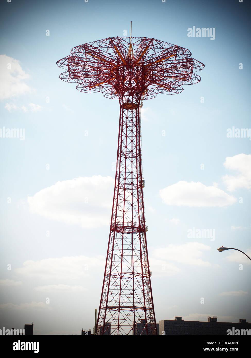Parachute Ride, Coney Island, New York City, USA - Stock Image