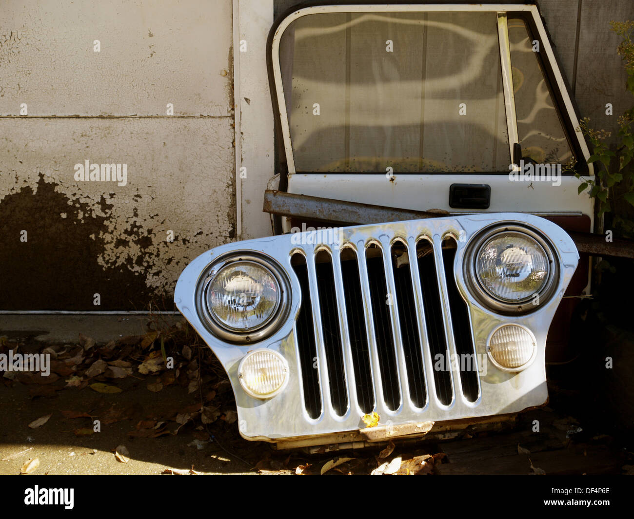 Jeep grill at a jeep parts outlet. Vermont. USA. - Stock Image