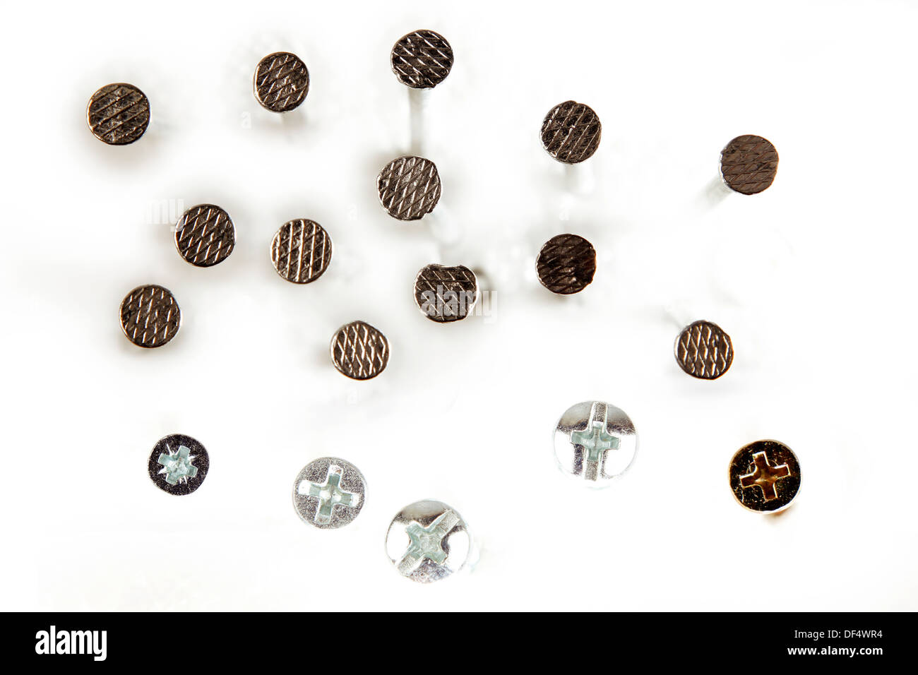 Closeup of nail and screw heads - Stock Image