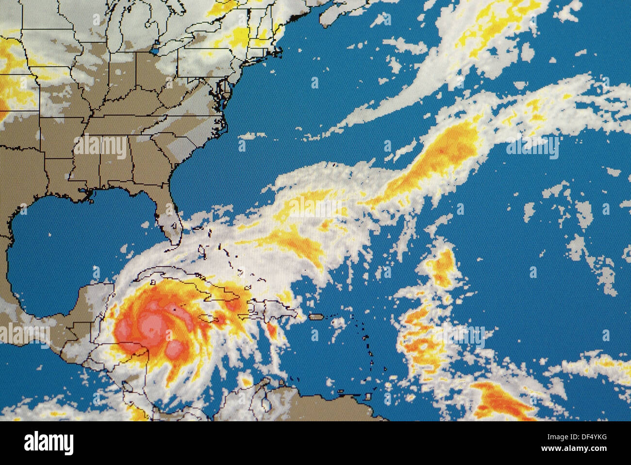 Hurricane Weather Map Of A Level 5 Storm As Viewed On The Internet