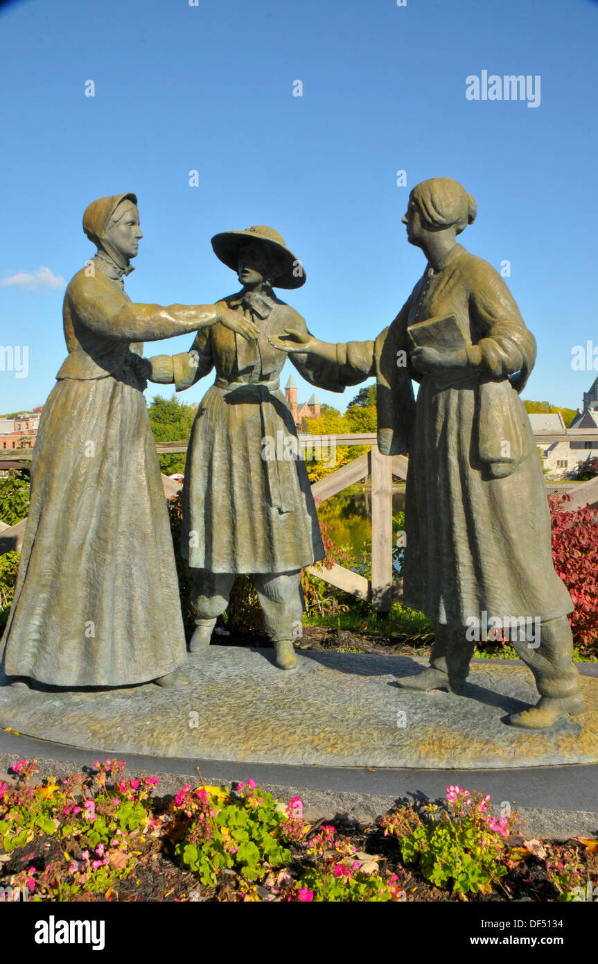 Statue of Susan B Anthony Amelia Bloomer and Elizabeth Cady Stanton Seneca Falls New York - Stock Image