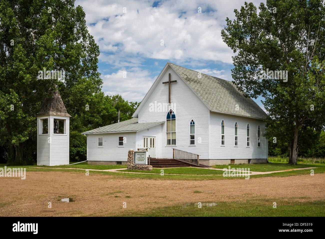The Lutheran Church building in Lebanon, North Dakota, USA. - Stock Image