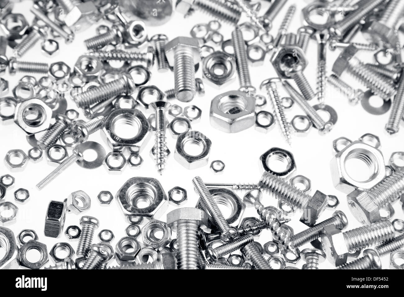 Assorted nuts, bolts and screws closeup Stock Photo