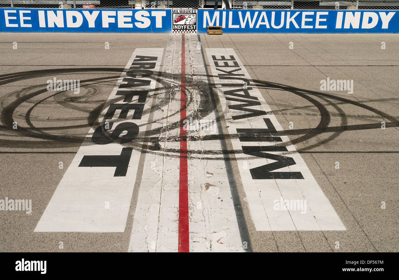 Start finish line at the Milwaukee Mile race track Wisconsin USA - Stock Image