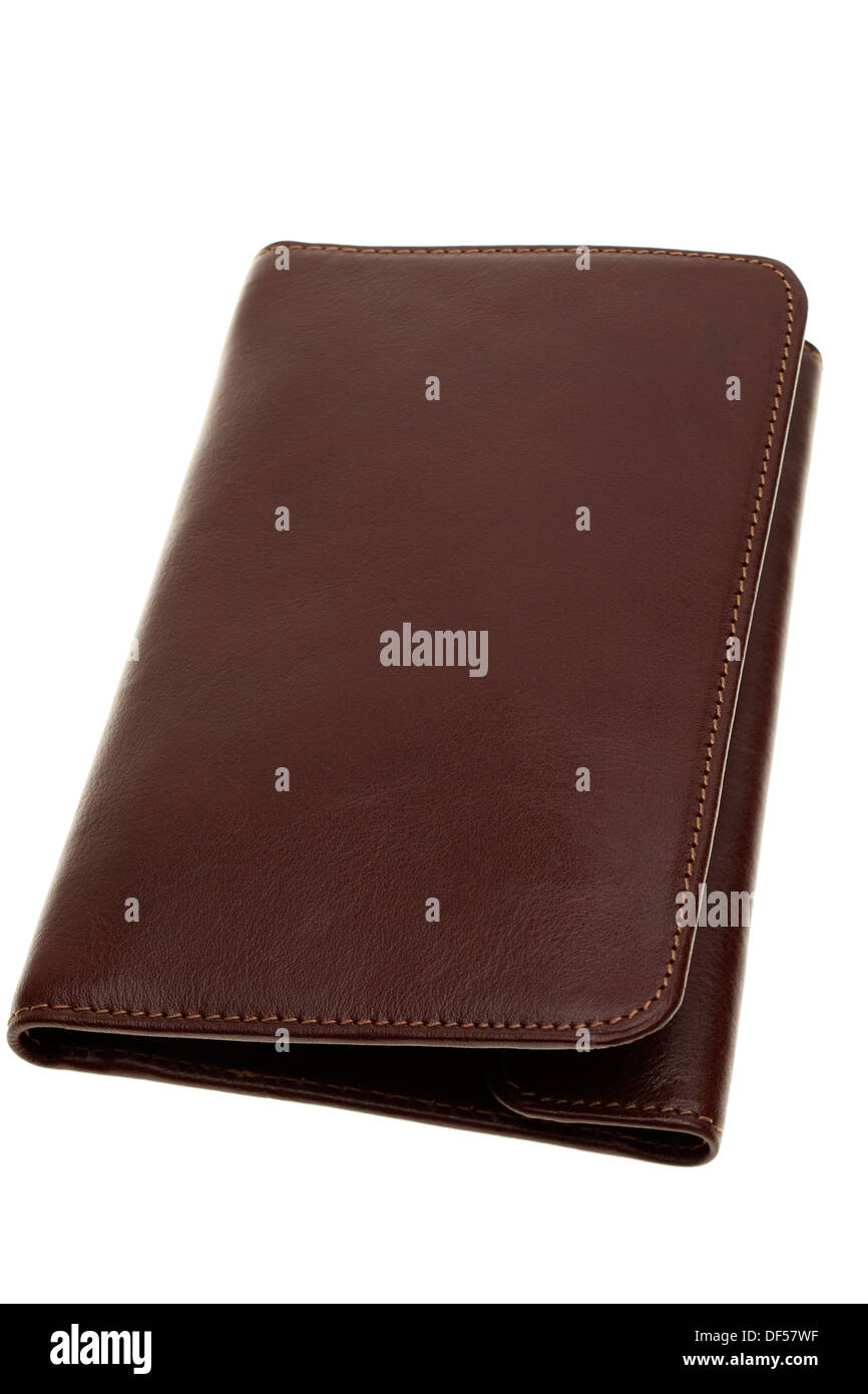 Brown leather folded mans wallet - Stock Image