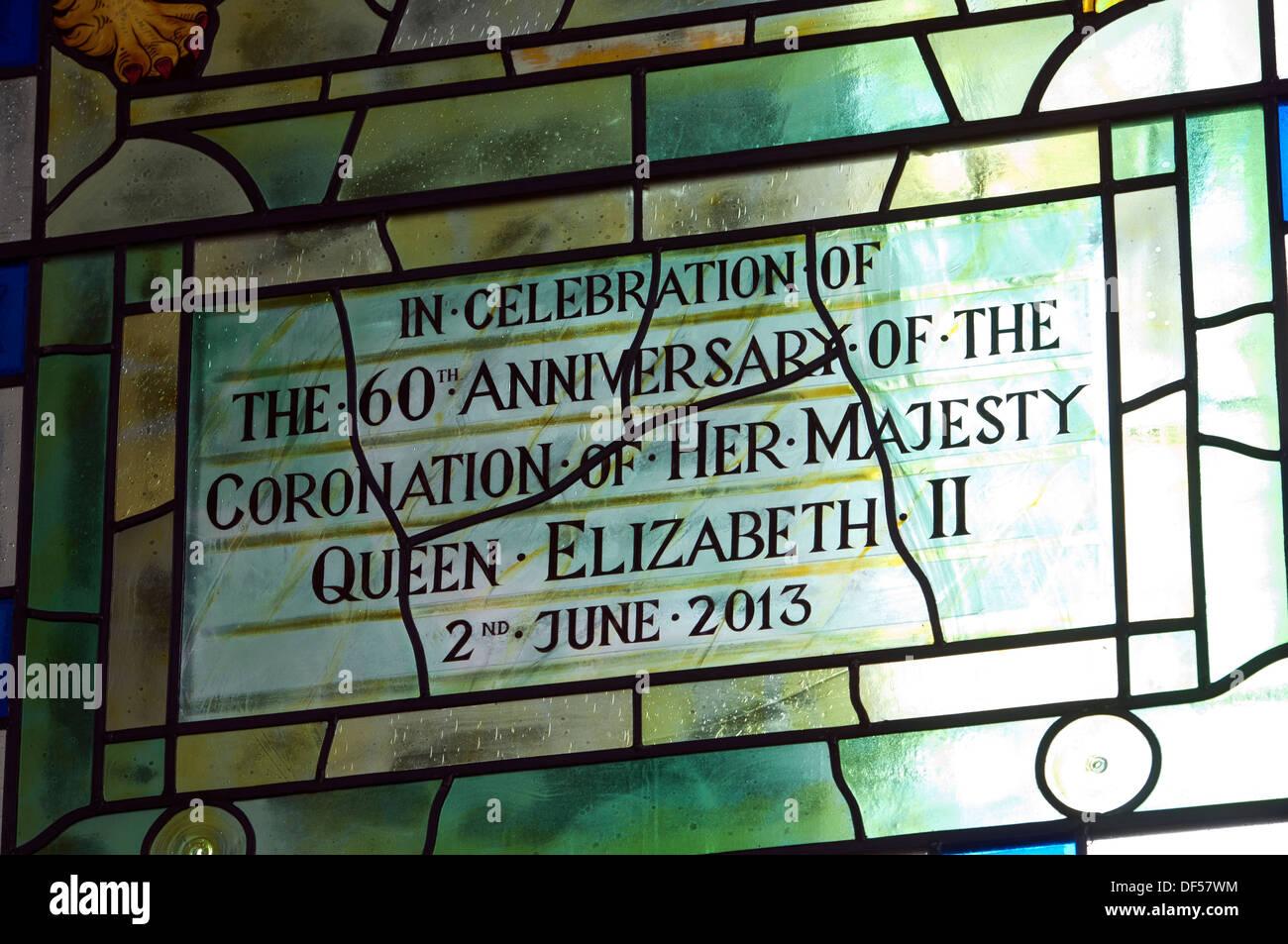 Diamond Jubilee stained glass detail, St. Mary Magdalene Church, Bridgnorth, Shropshire, England, UK - Stock Image