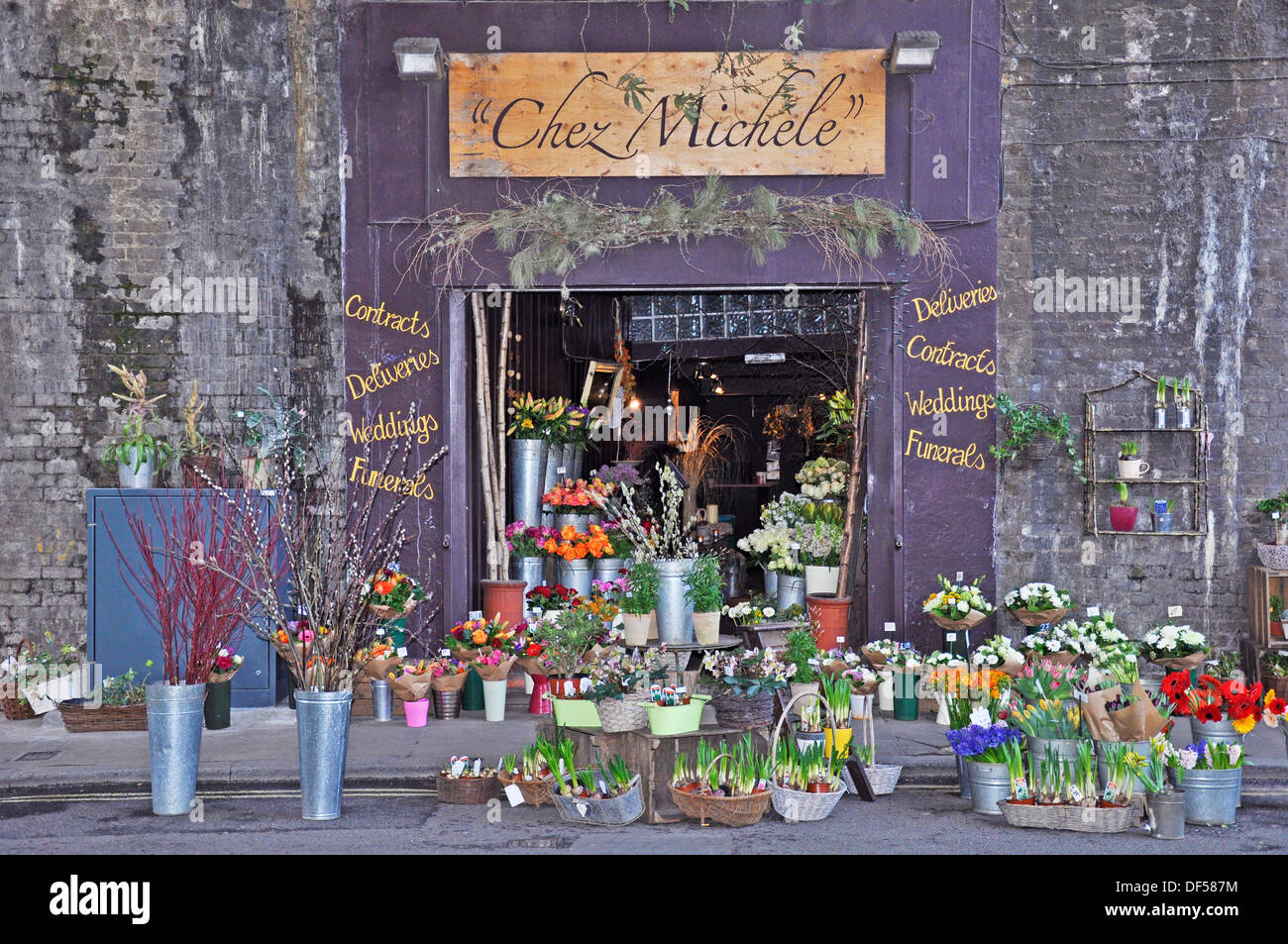 'Chez Michele' flower shop, directly opposite Borough Market (London's renowned food market). England, UK. - Stock Image