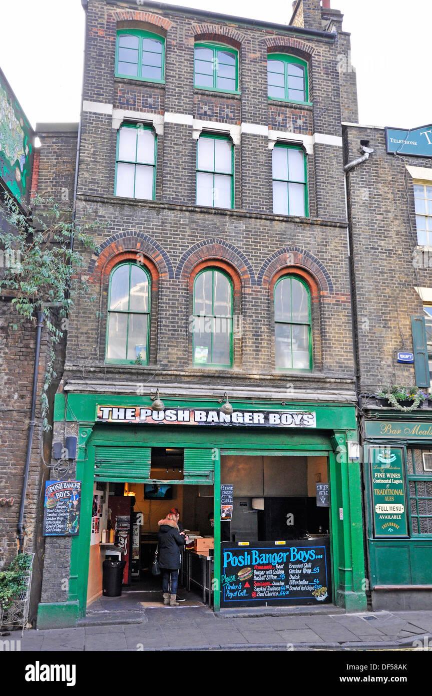 The Posh Banger Boys cafe, directly opposite Borough Market (London's renowned food market). England, UK. - Stock Image