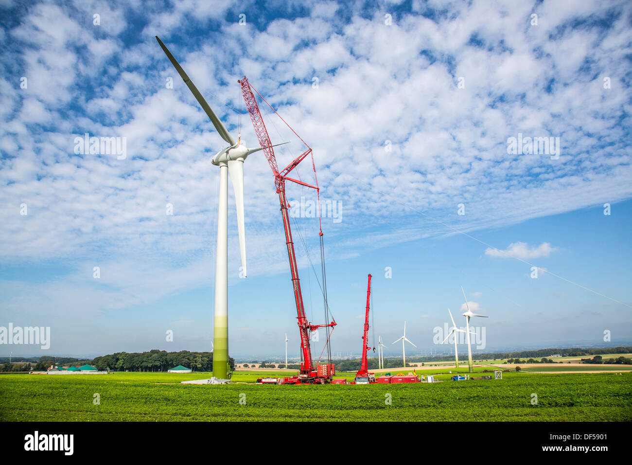 Construction, installation of a wind turbine. Wind turbines, wind farm, park. Wind power, wind energy, construction Stock Photo