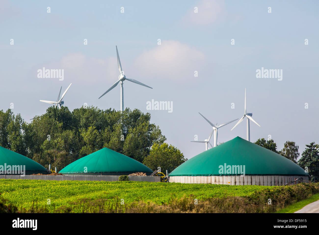 Wind turbines, wind energy, and bio gas plant, - Stock Image