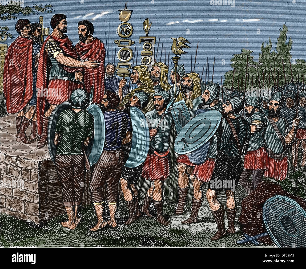 Roman victor thanking the army. Engraving. (Later colouration) - Stock Image