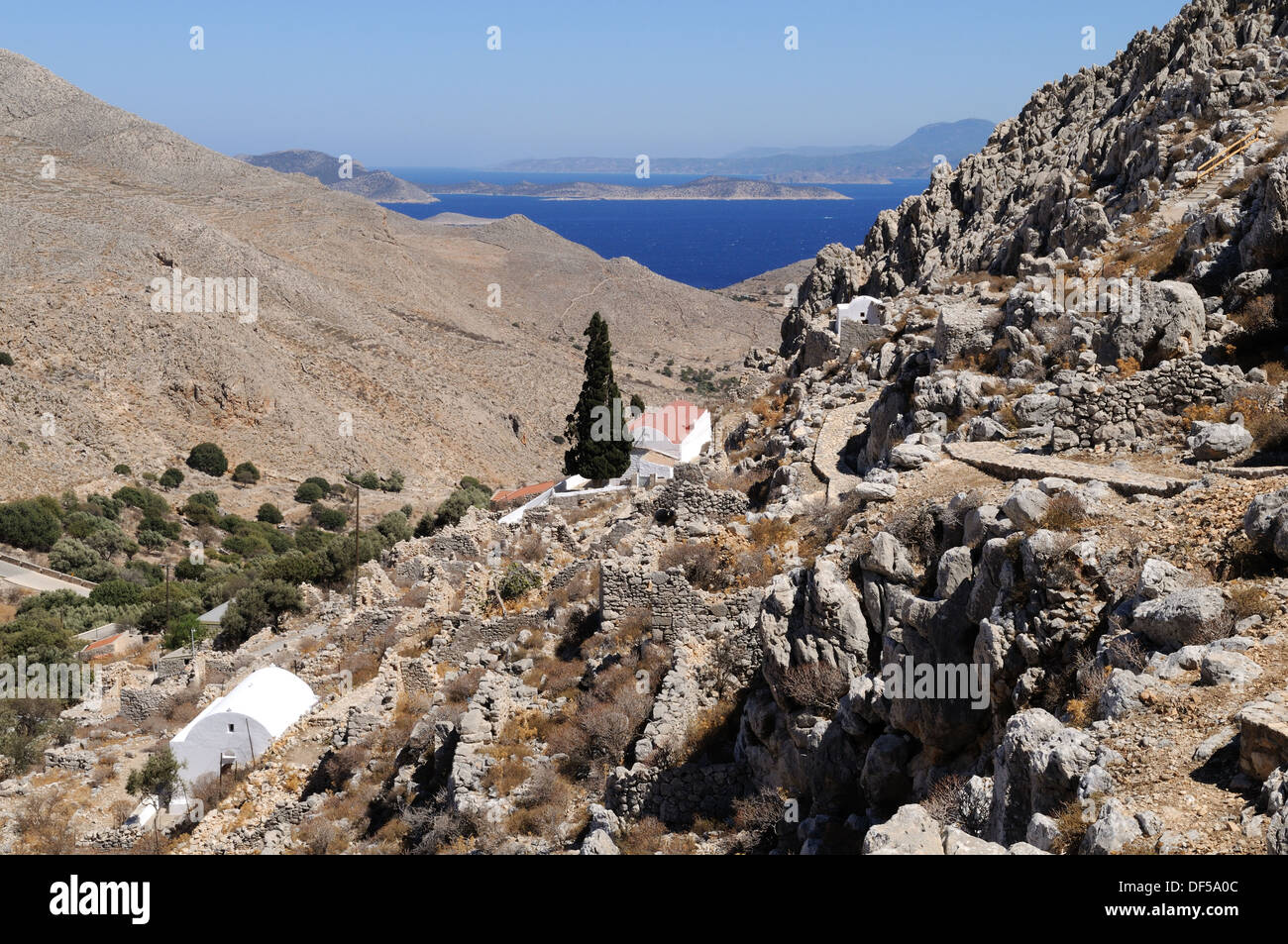 The abandoned village  of Chorio Halki Chalki The Dodecanese Greece - Stock Image