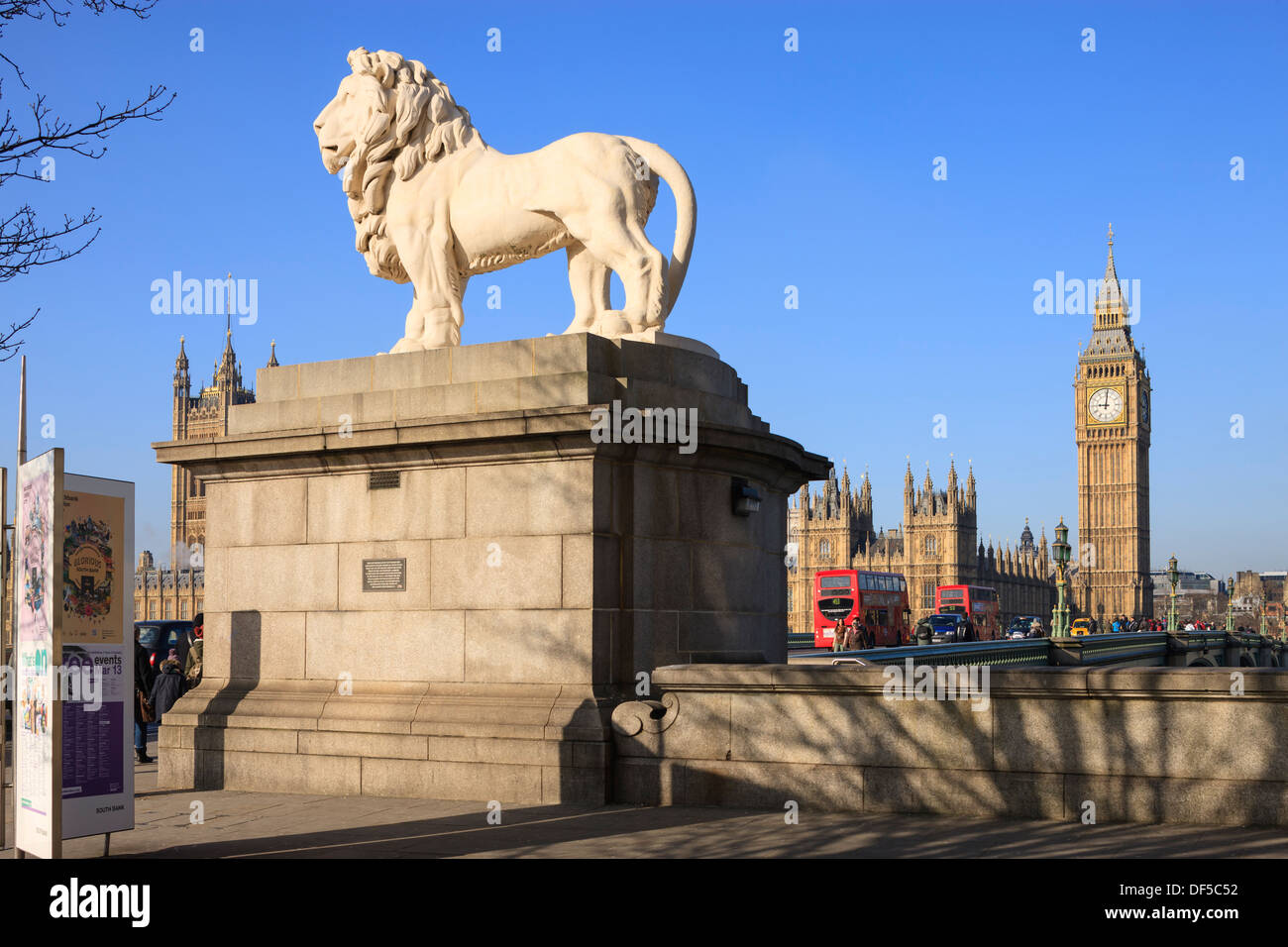 The South Bank Lion with Big Ben and Houses of Parliament Westminster London England - Stock Image