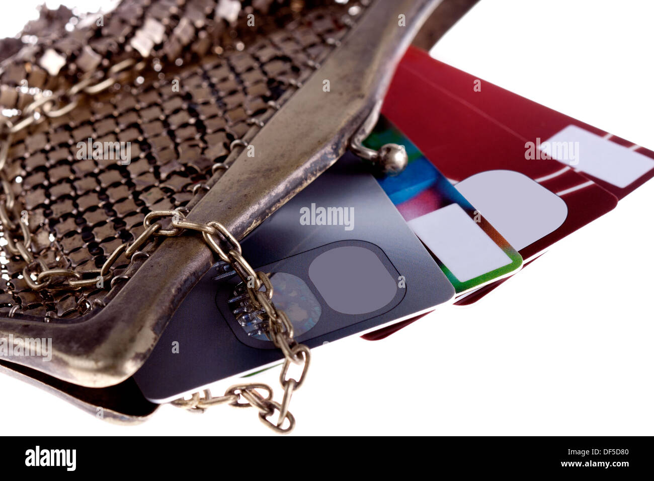 antiquarian purse with credit cards Visa and Mastercard - Stock Image