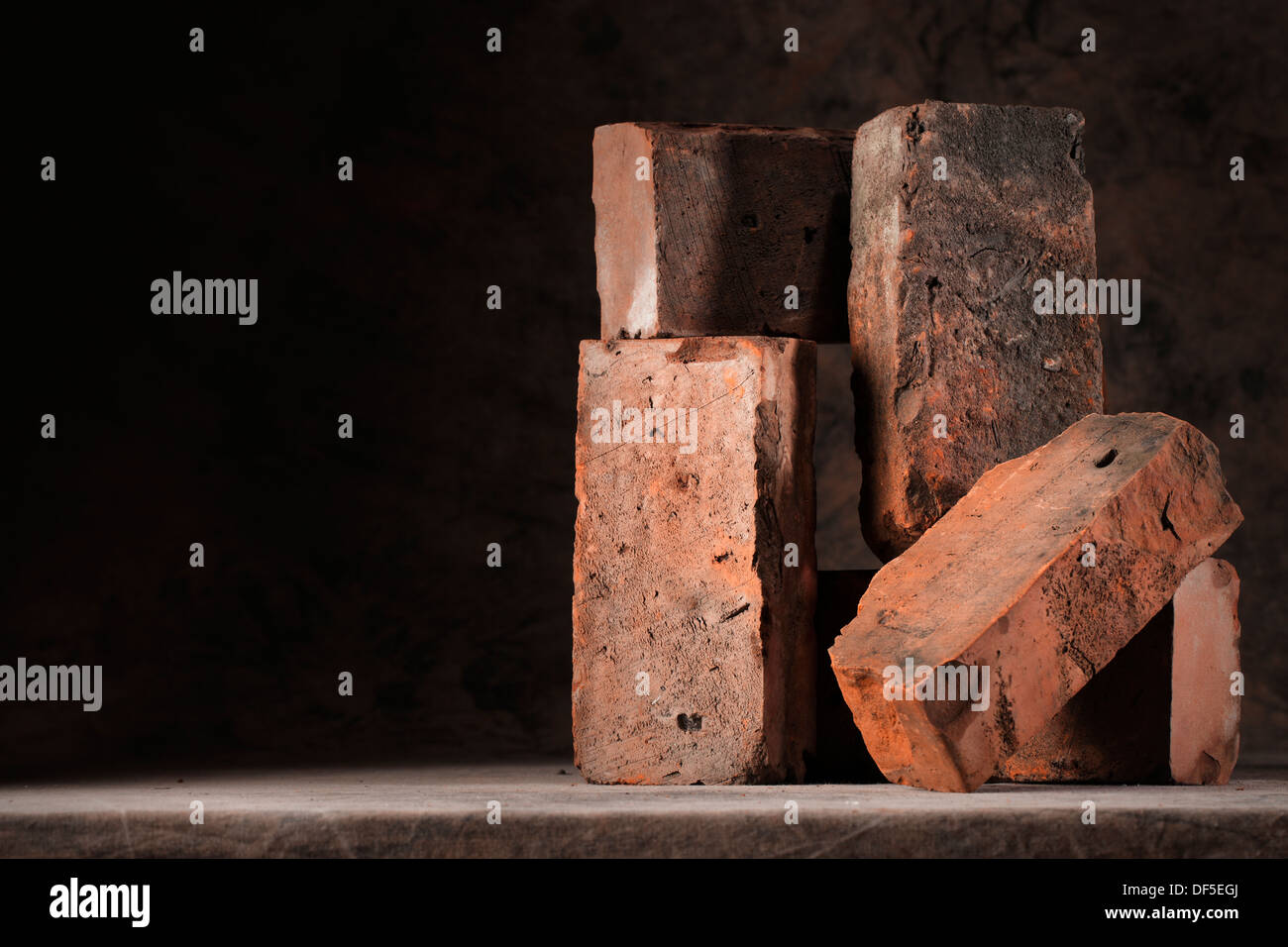 Still life with old used bricks. - Stock Image