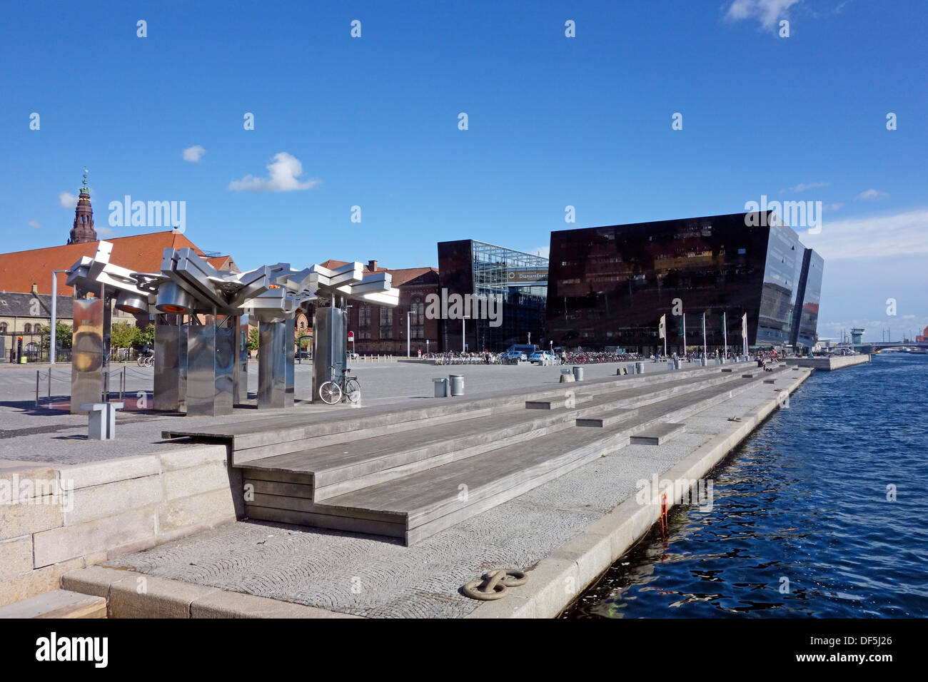 The Royal Danish Library  is housed in the building termed Black Diamond spectacularly located on the waterfront in Copenhagen - Stock Image