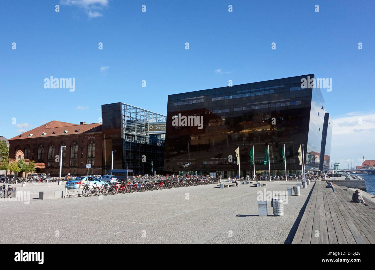 The Royal Danish Library is housed in the building termed Black Diamond spectacularly located on the waterfront Stock Photo