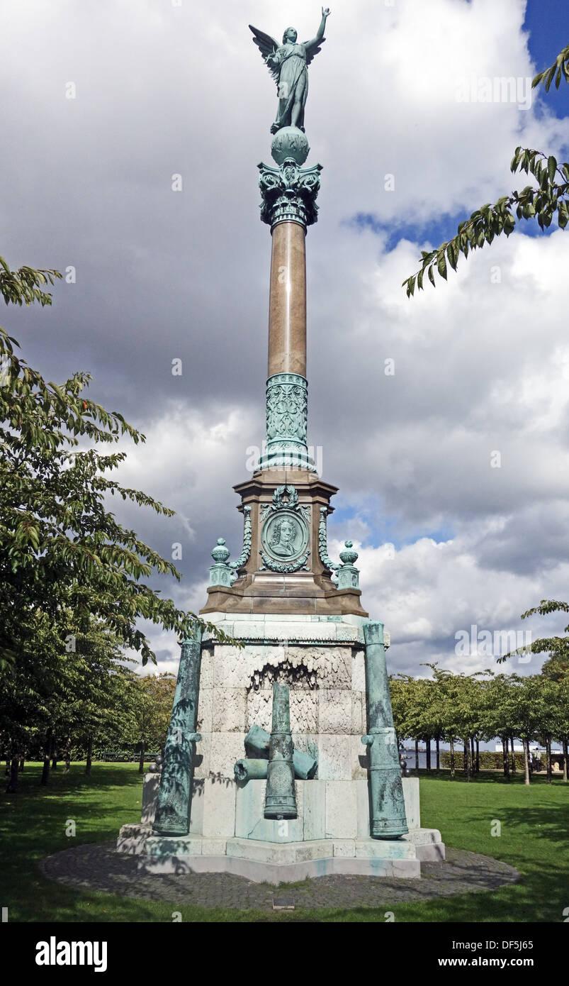 The Ivar Huitfeldt Column monument at Langelinie in Copenhagen Denmark with - Stock Image