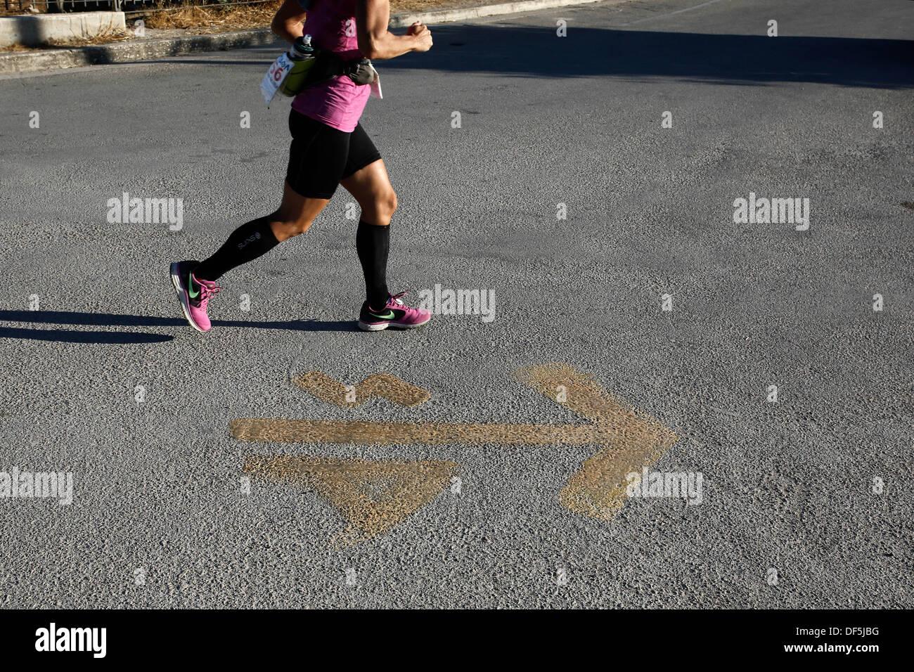 Sparta, Greece. 27th Sep, 2013. Ultramarathon Spartathlon 2013. Greece on September 27, 2013. © Konstantinos Tsakalidis/Alamy Live News - Stock Image