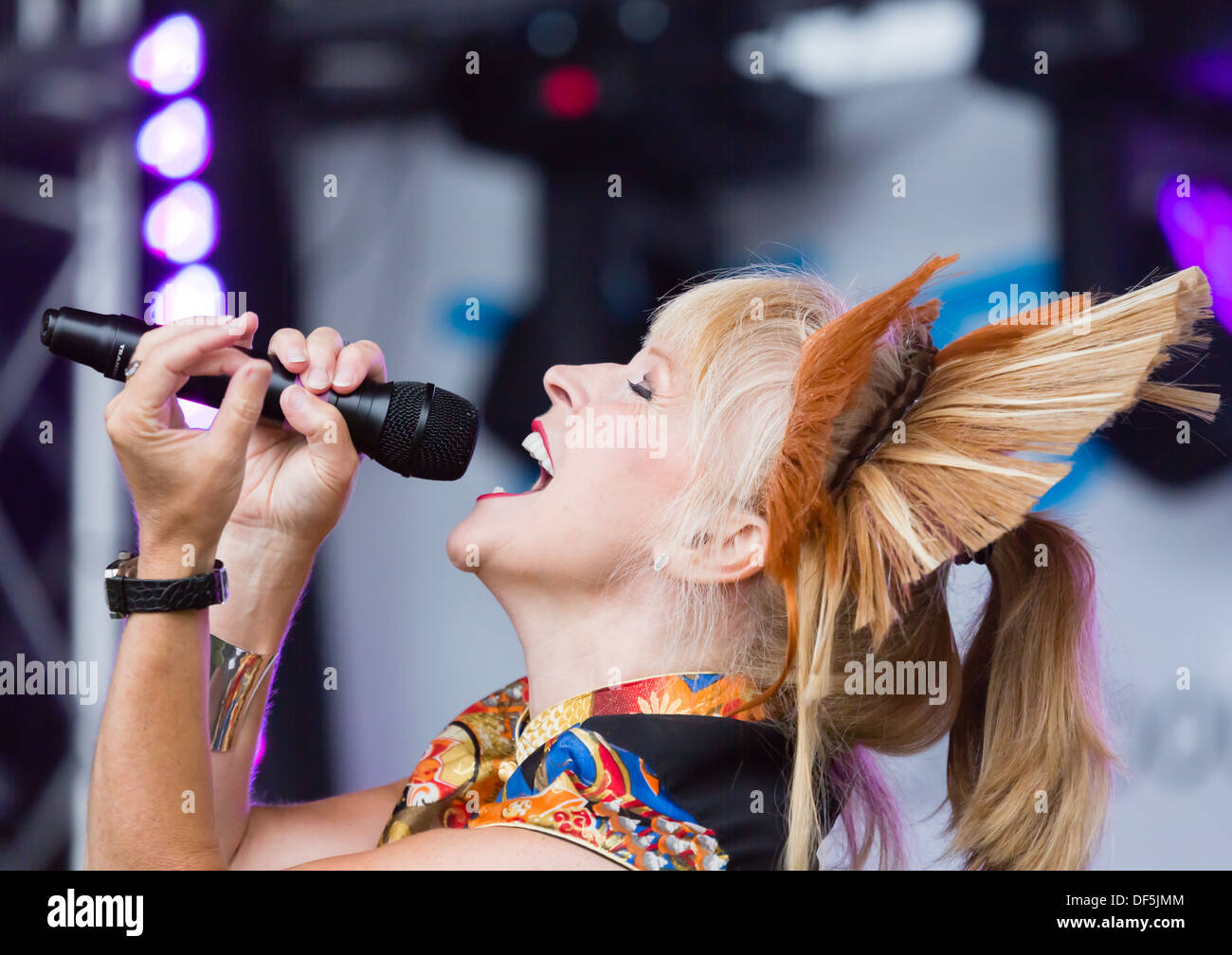 Toyah Wilcox singing at the Newcastle Pride event, July 2013 in Newcastle on Tyne. Stock Photo