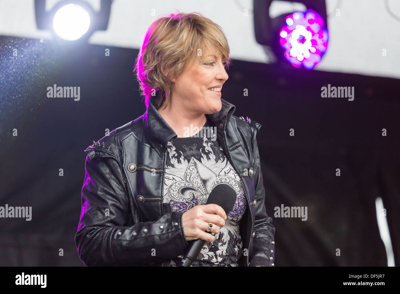 Katrina Leskanich performing at the Newcastle Pride event, July 2013 at Newcastle Upon Tyne - Stock Image