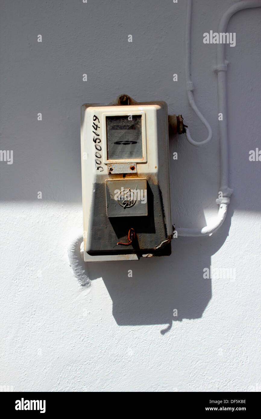 Greece, Cyclades islands, Sifnos, electric meter box outside a property in Apollonia village. - Stock Image