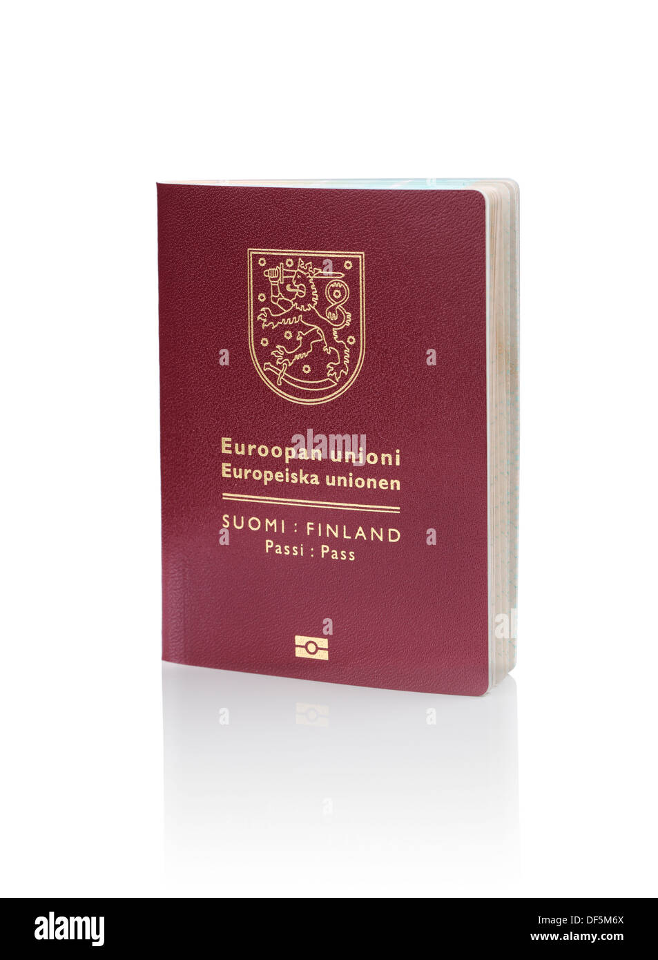 Finnish (Finland) passport isolated on white with reflection. This is the new (2013) design of the passport. - Stock Image