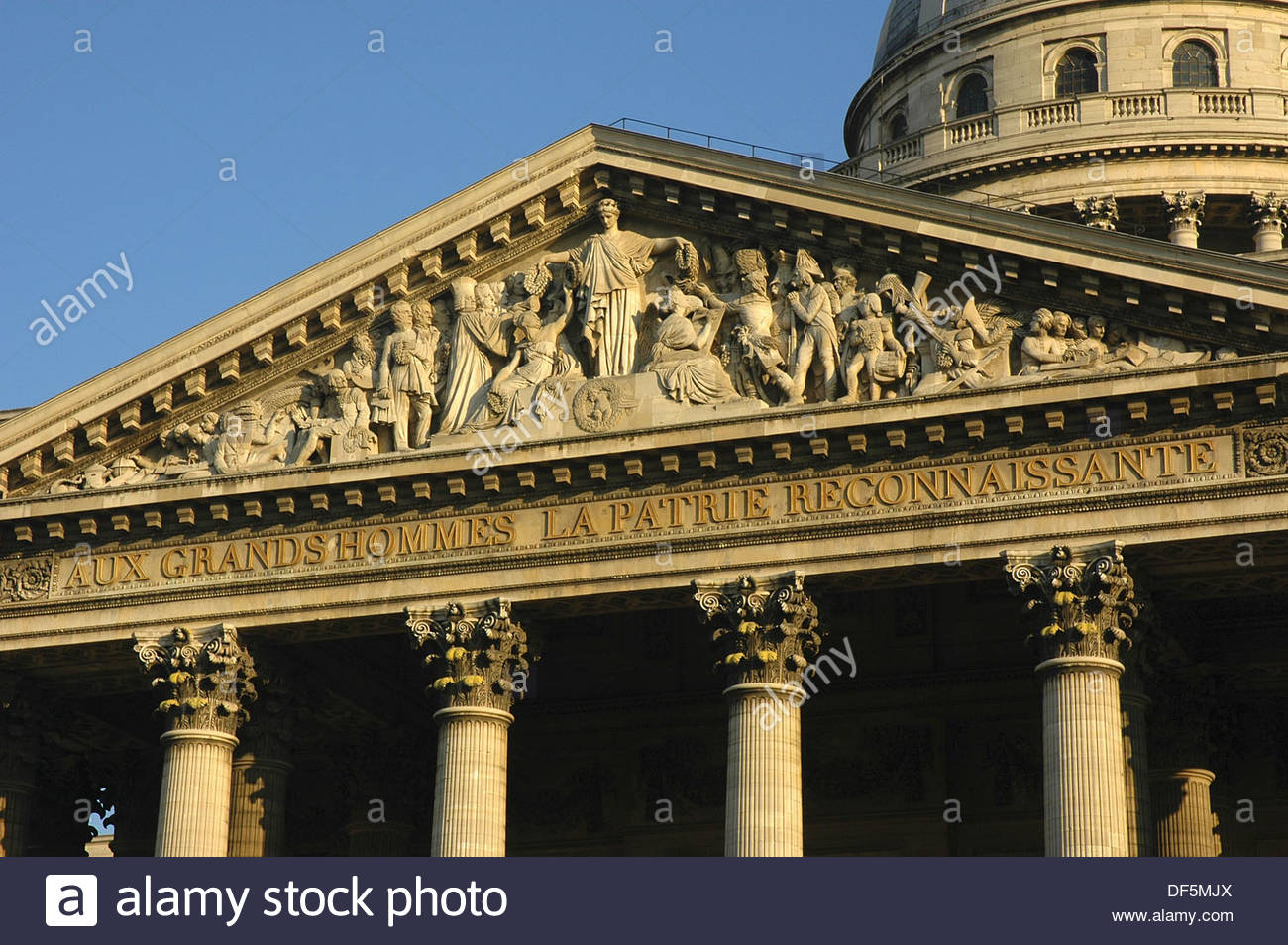 Façade of the Panthéon (1755-92), Paris, France - Stock Image