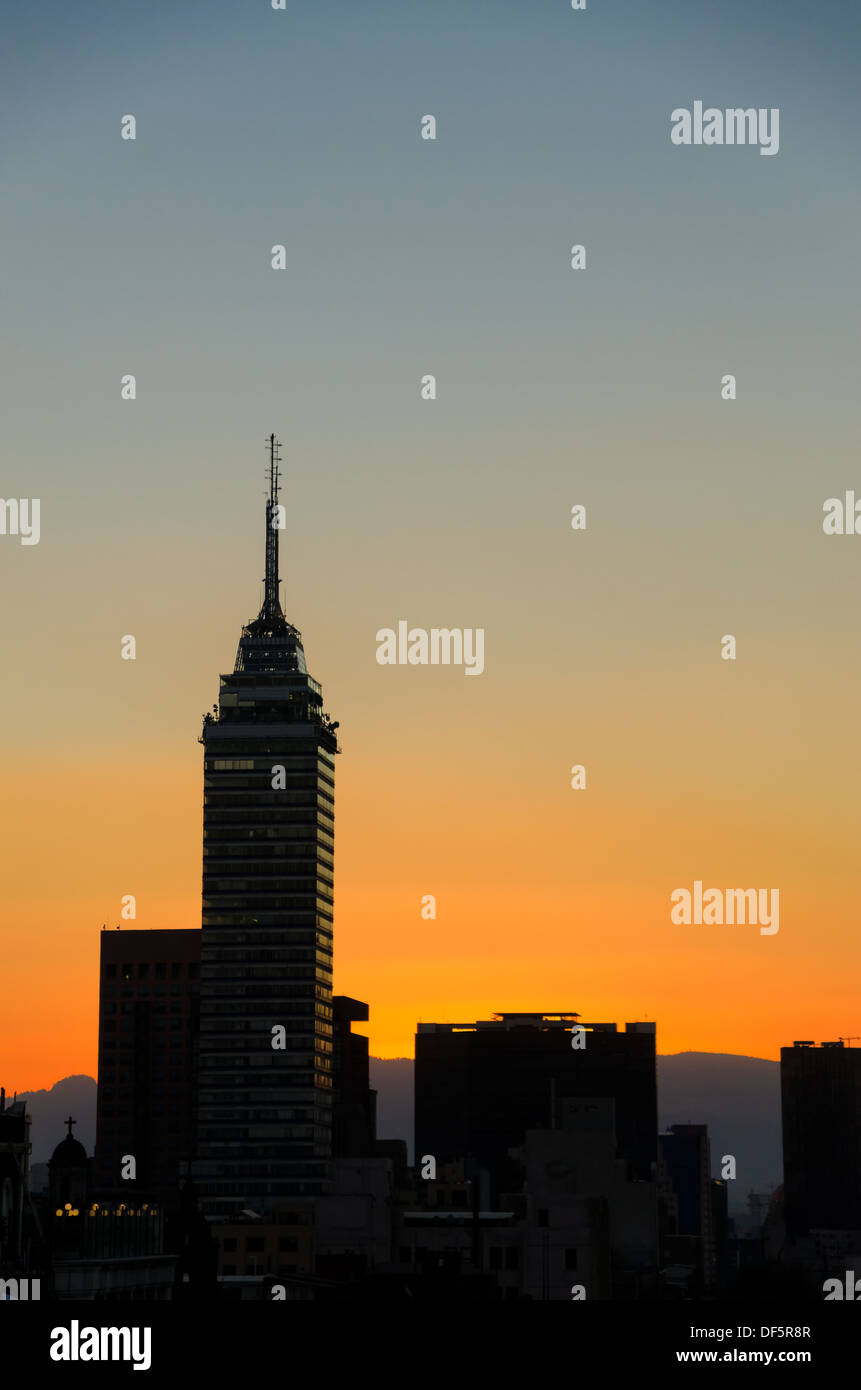 Mexico City cityscape as seen at sunset - Stock Image